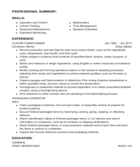FLAVOR COMPOUNDER resume sample Ohio