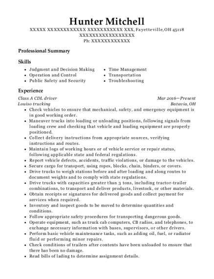 Class A CDL driver resume format Ohio
