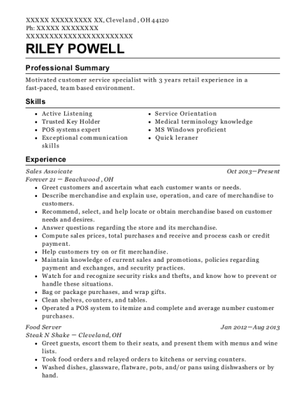 Sales Assoicate resume format Ohio