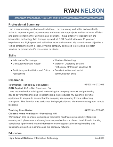 Information Technology Consultant resume template Ohio