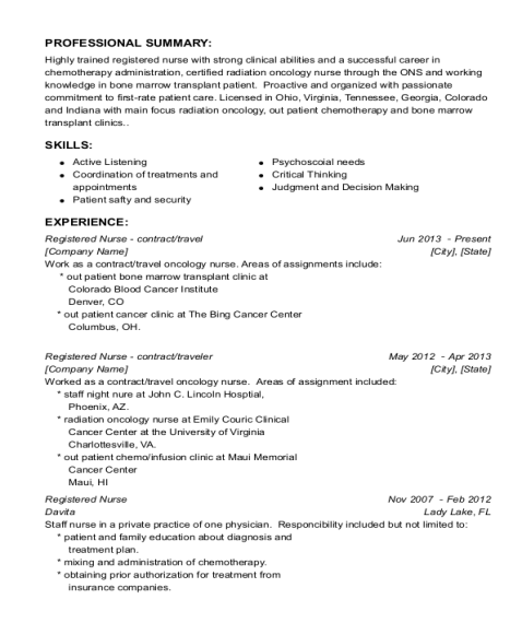 Registered Nurse contract resume sample Ohio