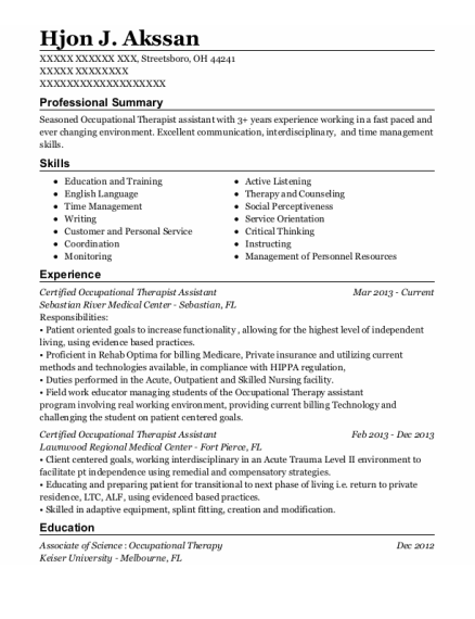 Certified Occupational Therapist Assistant resume format Ohio