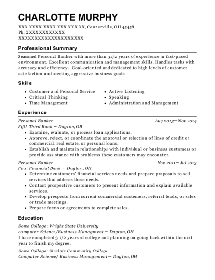 Personal Banker resume format Ohio