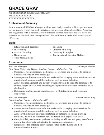 RN Case Manager resume template Ohio