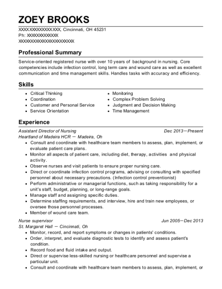 Assistant Director of Nursing resume sample Ohio