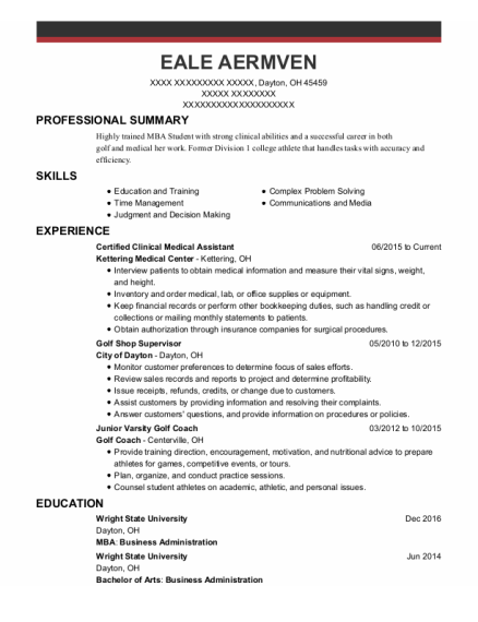 Certified Clinical Medical Assistant resume template Ohio