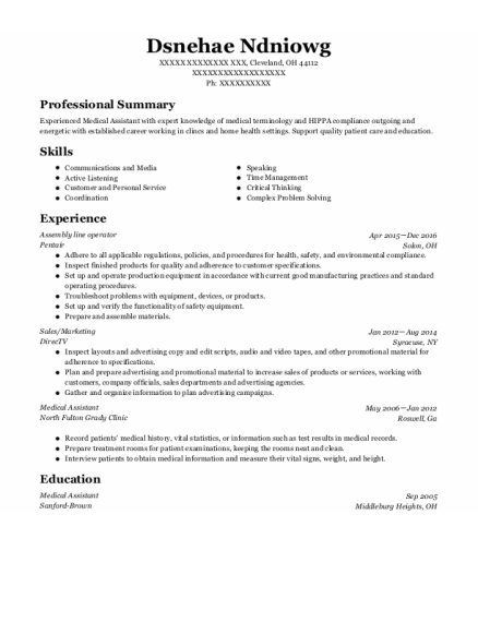 Assembly Line Operator resume format Ohio