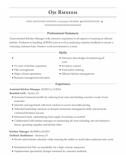 Assistant Kitchen Manager resume example Ohio