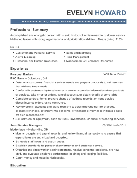 Personal Banker resume example Ohio