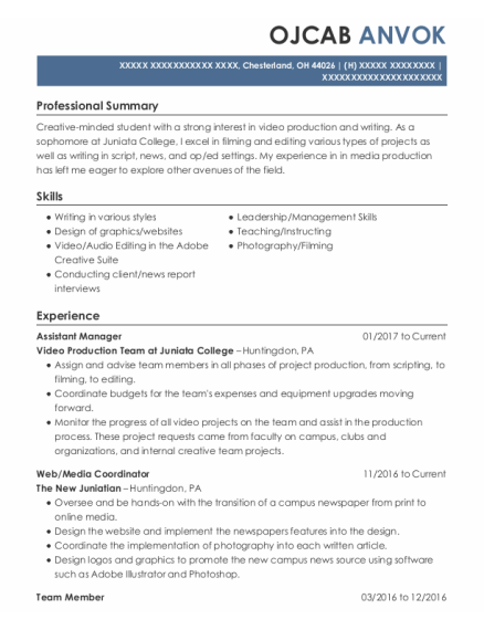 Assistant Manager resume format Ohio