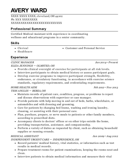 CLINIC MANAGER resume example Ohio