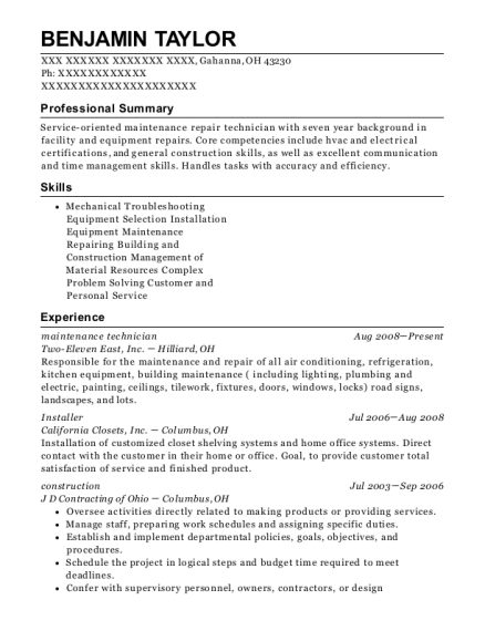Maintenance Technician resume example Ohio