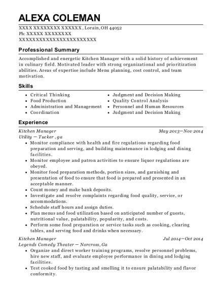 Kitchen Manager resume template Ohio
