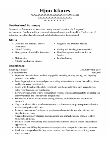 Shipping Manager resume sample Ohio