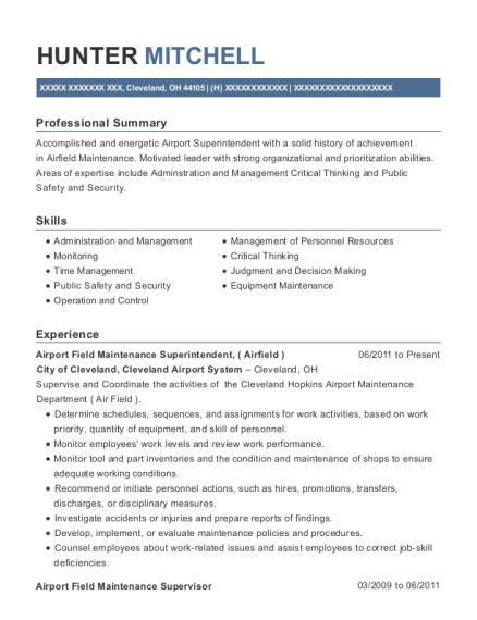 Airport Field Maintenance Superintendent resume template Ohio