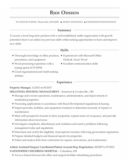 Property Manager resume sample Ohio