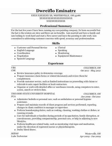 CSR resume template Ohio
