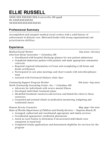 Medical Social Worker resume template Ohio