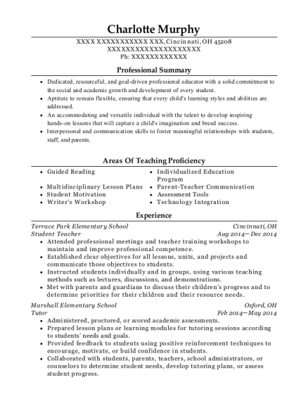 Student Teacher resume format Ohio