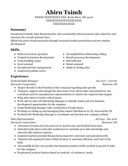 National Sales Manager resume template Ohio