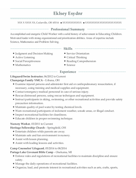 Lifeguard resume template Ohio