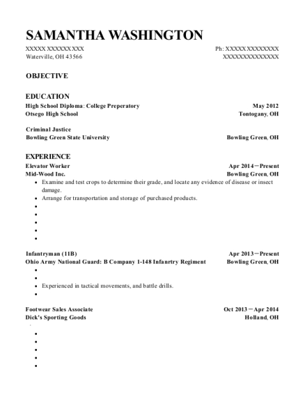 Elevator Worker resume example Ohio