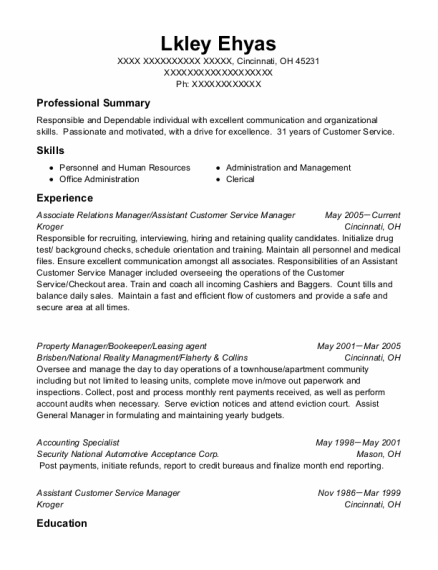 Assistant Customer Service Manager resume template Ohio