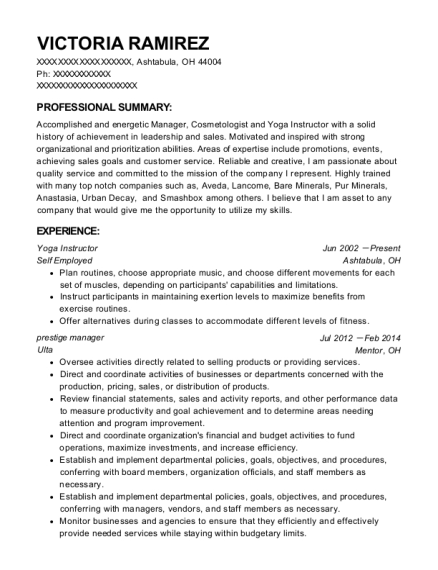 Yoga Instructor resume sample Ohio