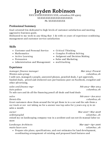 manager finance manager resume format Ohio