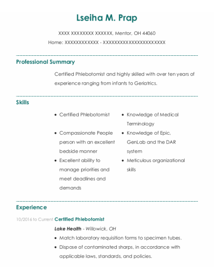 Certified Phlebotomist resume template Ohio