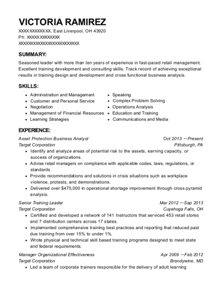 Asset Protection Business Analyst resume sample Ohio