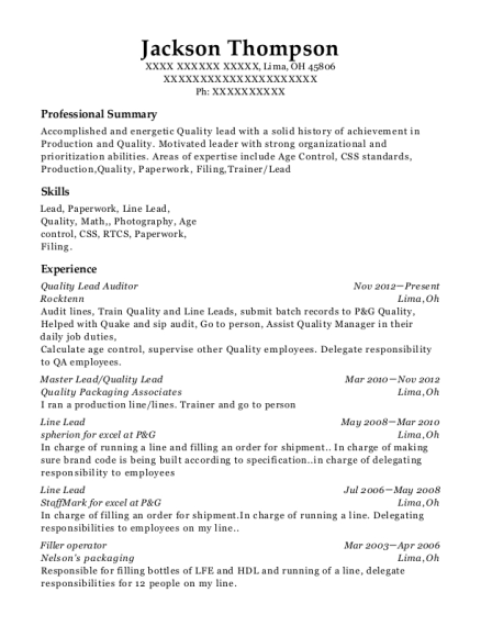 Quality Lead Auditor resume format Ohio