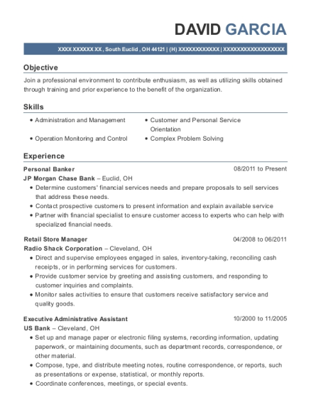 Personal Banker resume sample Ohio