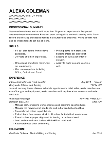 Fitness Instructor and Front Counter resume sample Ohio