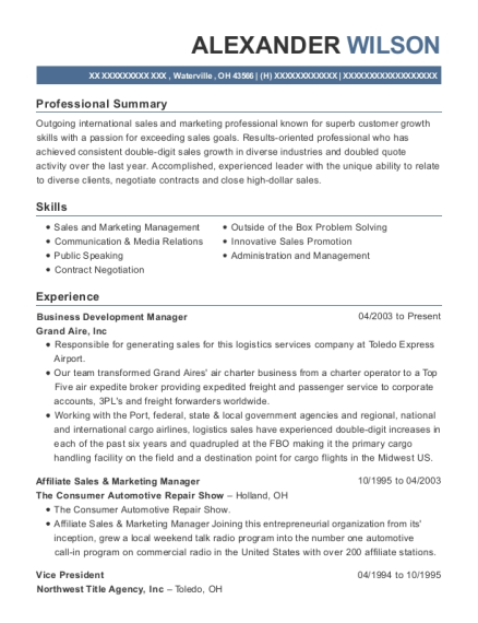 Business Development Manager resume sample Ohio