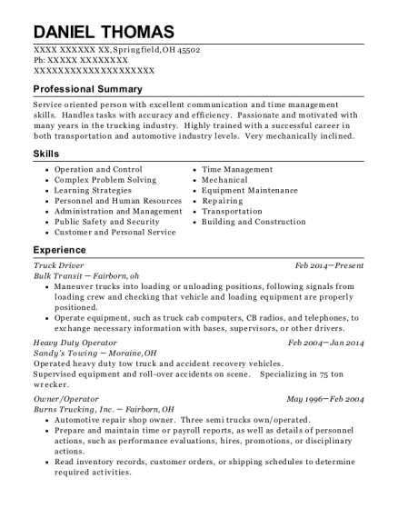 Truck Driver resume sample Ohio