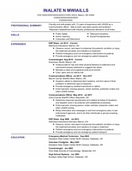 Emt Basic resume template Ohio