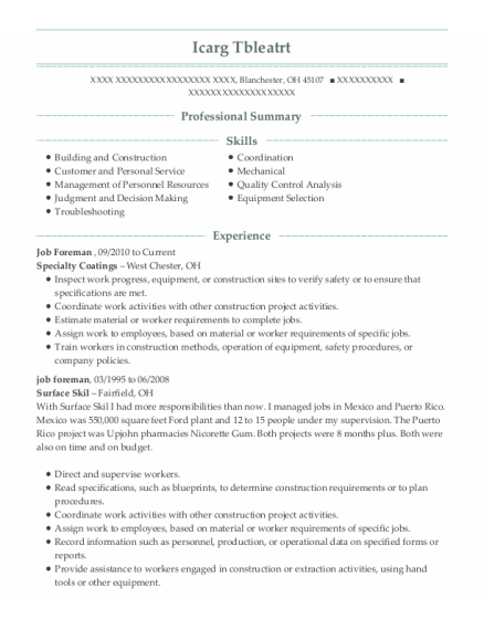 Job Foreman resume sample Ohio