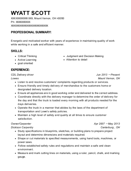 CDL Delivery driver resume example Ohio