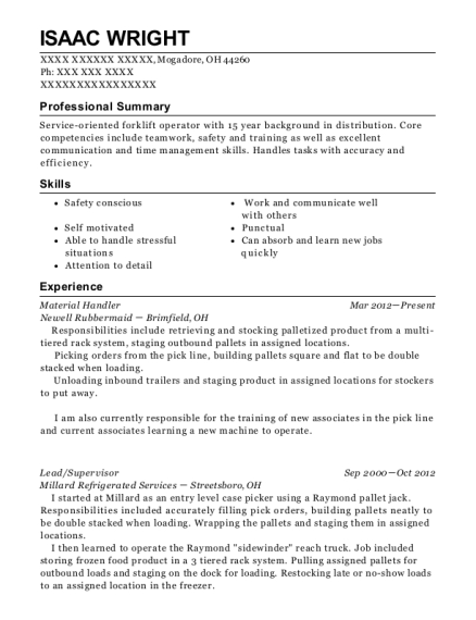 Material Handler resume template Ohio