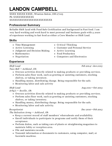 Shift Lead resume format Ohio