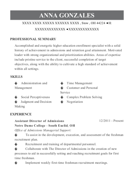 Assistant Director of Admissions resume template Ohio