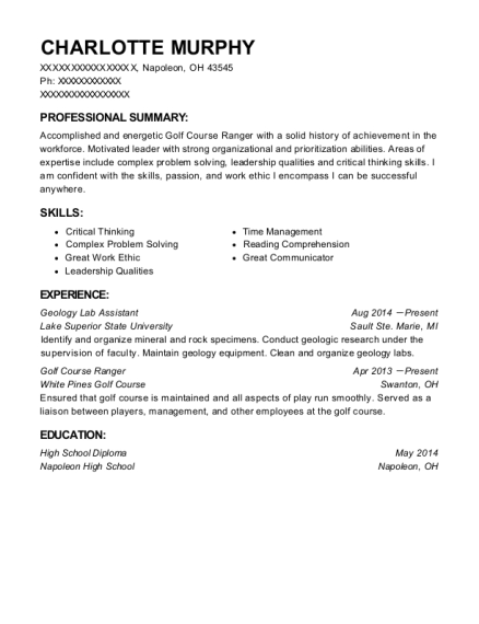 Geology Lab Assistant resume template Ohio