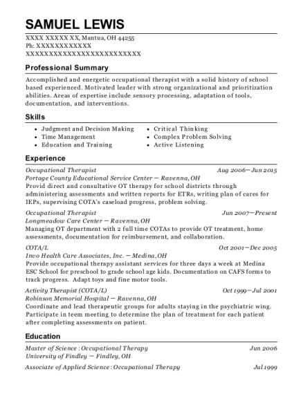 Occupational Therapist resume format Ohio
