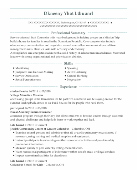 Student Leader resume template Ohio