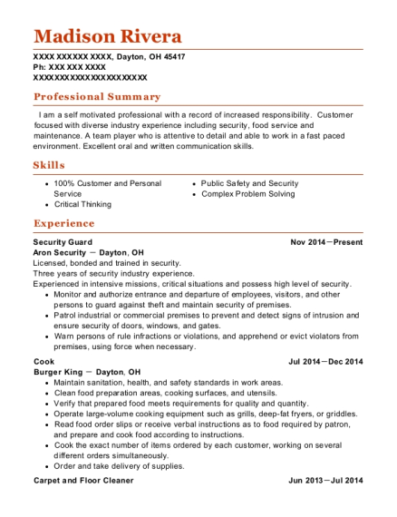 Security Guard resume sample Ohio