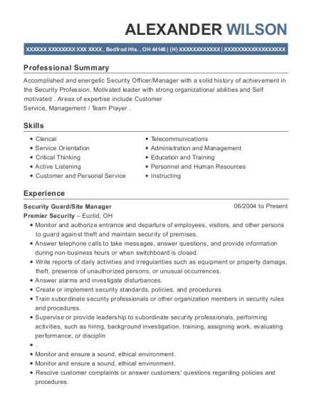 Security Guard resume format Ohio