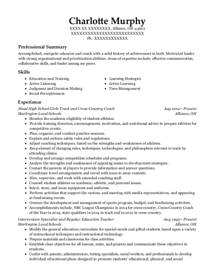 Head High School Girls Track and Cross Country Coach resume example Ohio