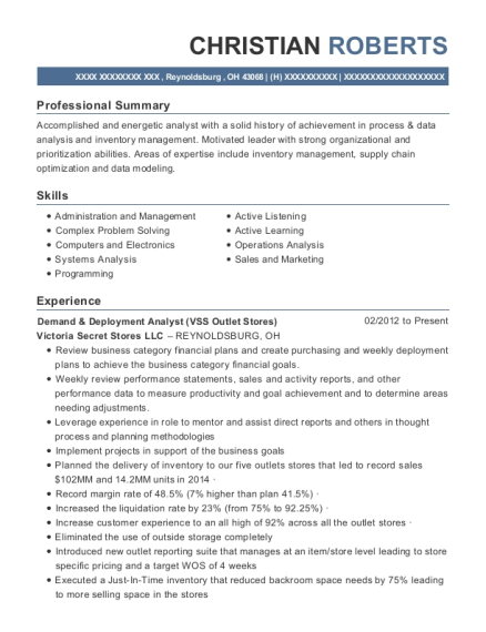 Demand & Deployment Analyst resume example Ohio