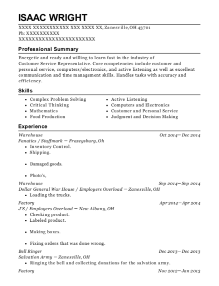 Warehouse resume format Ohio